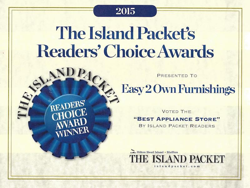 Easy to Own, Best Appliance Store, Island Packet Readers Choice Award